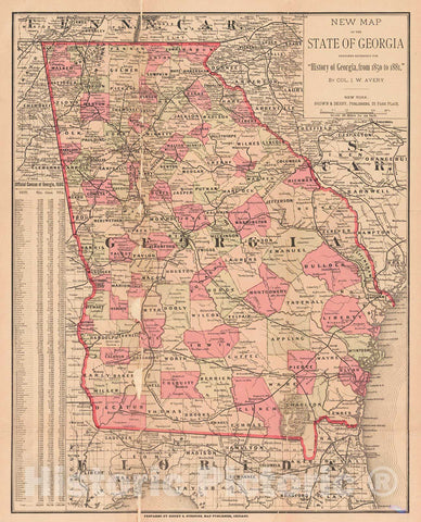 Historic Map : 1882 New Map of the State of Georgia : Vintage Wall Art