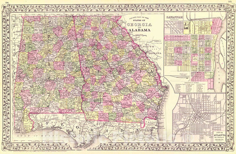 Historic Map : 1883 County Map of the States of Georgia and Alabama : Vintage Wall Art
