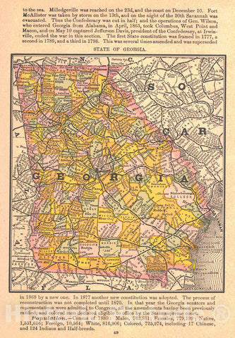 Historic Map : 1885 State of Georgia : Vintage Wall Art