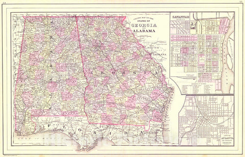 Historic Map : 1886 County Map of the States of Georgia and Alabama : Vintage Wall Art