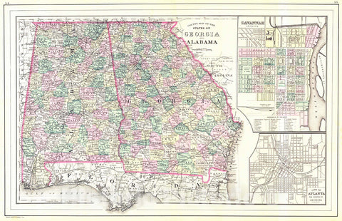 Historic Map : 1887 County Map of the States of Georgia and Alabama : Vintage Wall Art