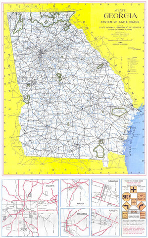 Historic Map : 1946 State of Georgia, System of State Roads  : Vintage Wall Art