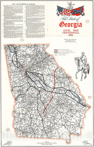 Historic Map : 1964 The State of Georgia, Civil War Centennial, 1864, Showing the Major Campaign Areas and Engagement Sites or the Union and Confederates : Vintage Wall Art