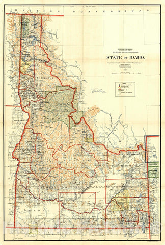 Historic Map : 1899 State of Idaho : Vintage Wall Art