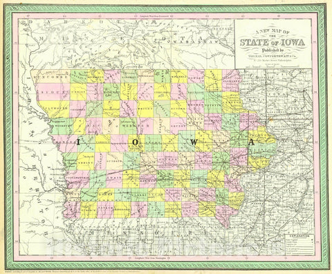 Historic Map : 1854 A New Map of the State of Iowa : Vintage Wall Art