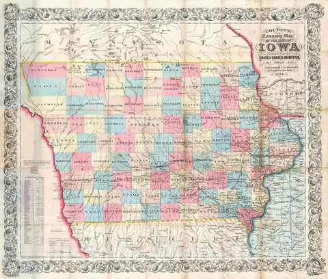 Historic Map : 1855 Colton's Township Map of the State of Iowa : Vintage Wall Art