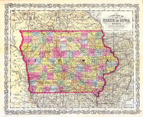 Historic Map : 1856 A New Map of State of Iowa : Vintage Wall Art