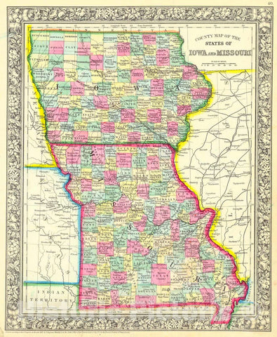 Historic Map : 1861 County Map of the State of Iowa and Missouri : Vintage Wall Art