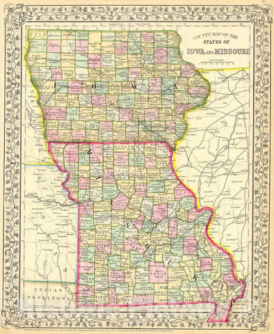 Historic Map : 1867 County Map of the State of Iowa and Missouri : Vintage Wall Art
