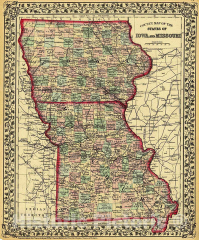 Historic Map : 1874 County Map of the States of Iowa and Missouri : Vintage Wall Art