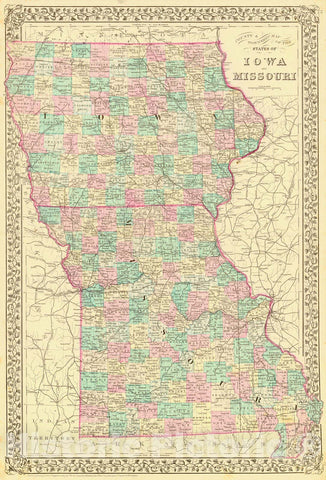 Historic Map : 1880 County & Township Map of the State of Iowa and Missouri : Vintage Wall Art