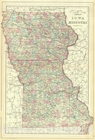 Historic Map : 1886 County and Township Map of the States of Iowa and Missouri : Vintage Wall Art