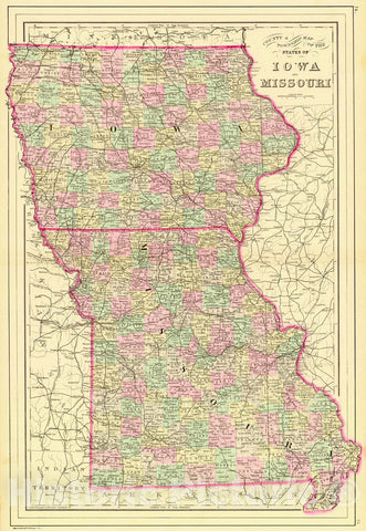 Historic Map : 1888 County & Township Map of the States of Iowa and Missouri : Vintage Wall Art