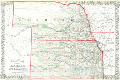 Historic Map : 1874 County and Township map of the states of Kansas and Nebraska : Vintage Wall Art