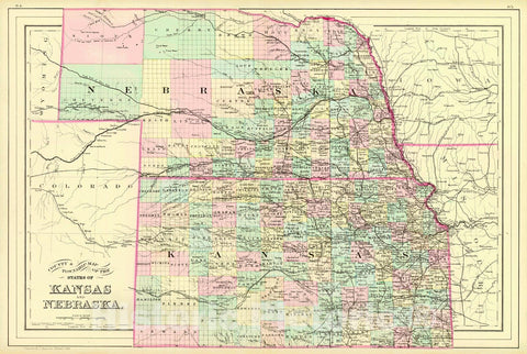 Historic Map : 1884 County & Township Map of the States of Kansas and Nebraska : Vintage Wall Art