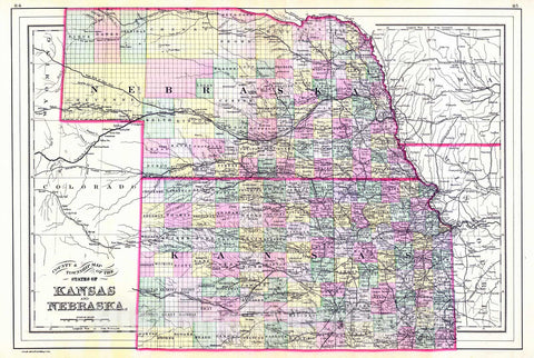Historic Map : 1887 County Map and Township Map of the States of Kansas and Nebraska : Vintage Wall Art
