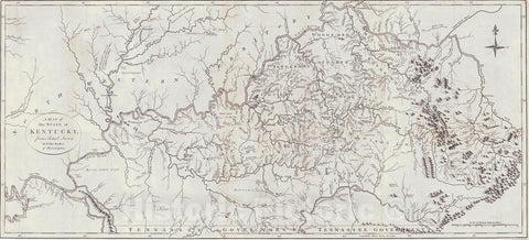 Historic Map : 1797 A Map of the State of Kentucky : Vintage Wall Art