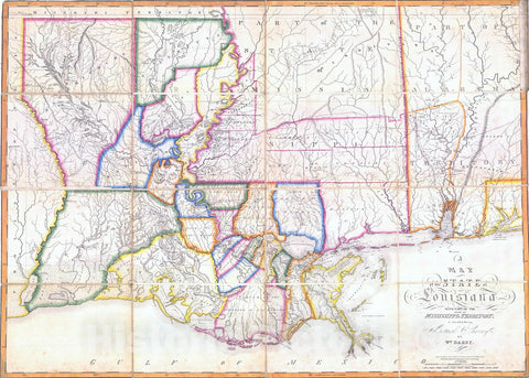Historic Map : 1816 A Map of the State of Louisiana with part of the Mississippi Territory : Vintage Wall Art