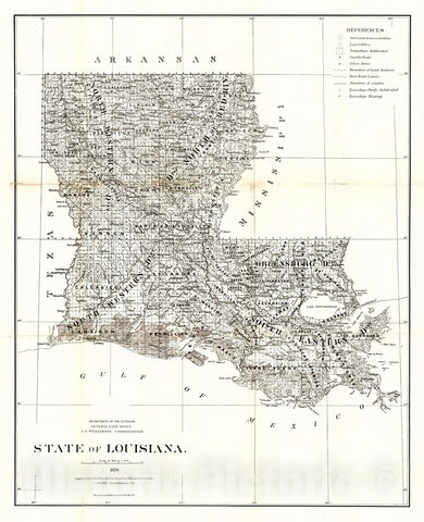 Historic Map : 1876 State of Louisiana : Vintage Wall Art