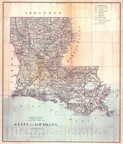 Historic Map : 1879 State of Louisiana : Vintage Wall Art