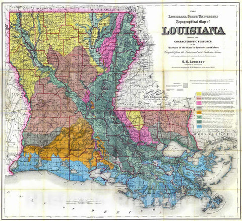 Historic Map : 1883 The Louisiana State University Topographical Map of Louisiana : Vintage Wall Art