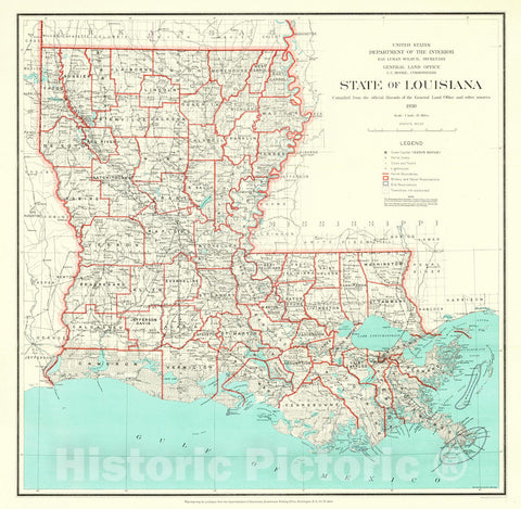 Historic Map : 1930 State of Louisiana : Vintage Wall Art