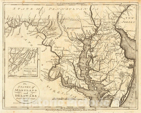 Historic Map : 1799 The States of Maryland and Delaware from the Latest Surveys 1799 : Vintage Wall Art