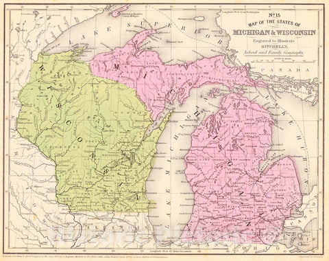 Historic Map : 1853 No. 15 Map of the States of Michigan & Wisconsin : Vintage Wall Art