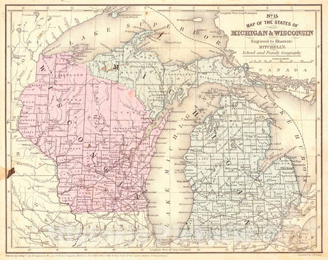 Historic Map : 1858 No. 15 Map of the States of Michigan & Wisconsin : Vintage Wall Art