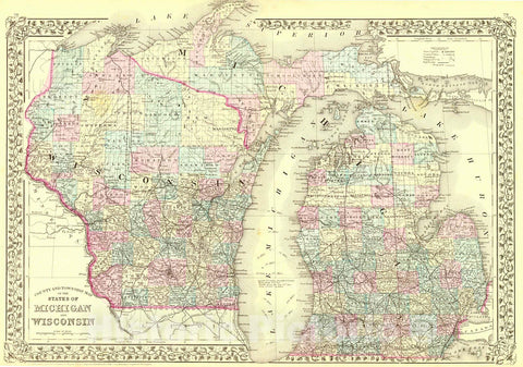 Historic Map : 1880 County and Township Map of the States of Michigan and Wisconsin : Vintage Wall Art