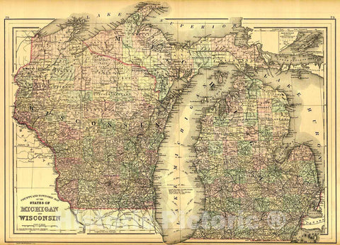 Historic Map : 1887 County and Township Map of the States of Michigan and Wisconsin : Vintage Wall Art