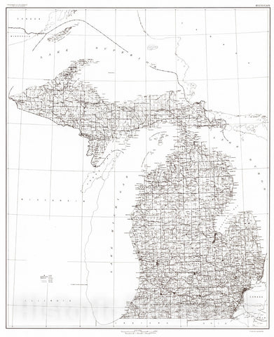 Historic Map : 1916 State of Michigan : Vintage Wall Art