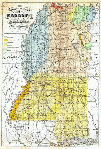 Historic Map : 1857 Geological Chart of Mississippi (from Preliminary Report on the Geology and Agriculture of the State of Mississippi) : Vintage Wall Art