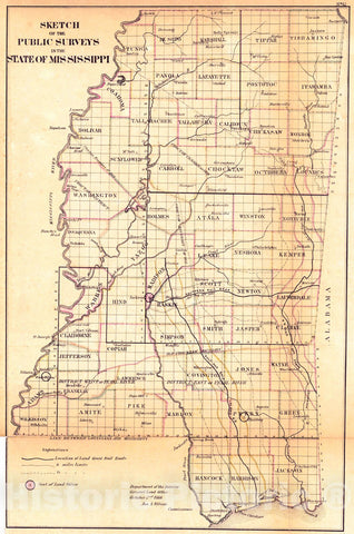 Historic Map : 1866 Sketch of the Public Surveys in the State of Mississippi : Vintage Wall Art