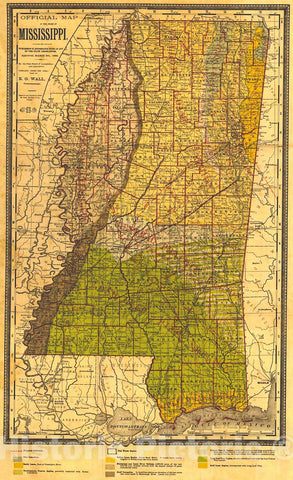 Historic Map : 1:1,152,000 Official Map of the State of Mississippi : Vintage Wall Art