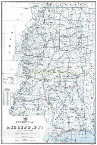 Historic Map : 1937 Post Route of the State of Mississippi Showing Post Offices : Vintage Wall Art
