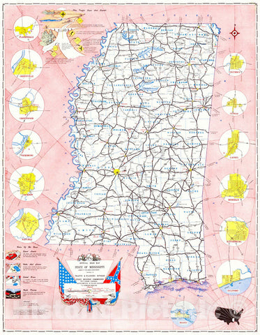 Historic Map : 1956 Official Road Map State of Mississippi : Vintage Wall Art