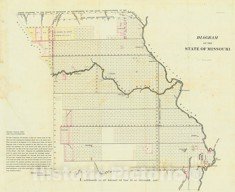 Historic Map : 1839 Diagram of the State of Missouri : Vintage Wall Art