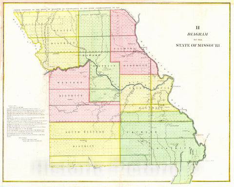 Historic Map : 1845 Diagram of the State of Missouri : Vintage Wall Art