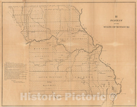 Historic Map : 1845 H Diagram of the State of Missouri : Vintage Wall Art
