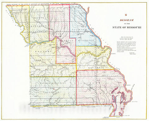 Historic Map : 1849 Diagram of the State of Missouri : Vintage Wall Art