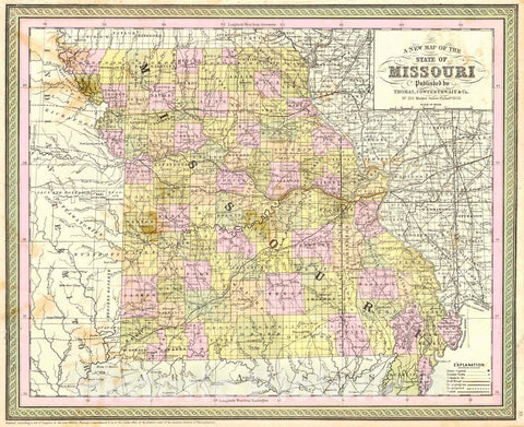 Historic Map : 1854 A New Map of the State of Missouri : Vintage Wall Art