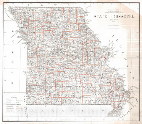 Historic Map : 1878 State of Missouri : Vintage Wall Art