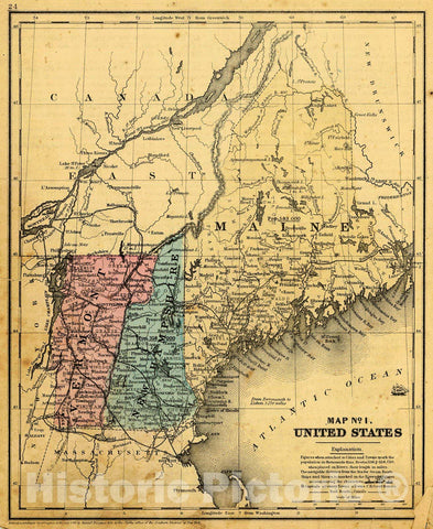 Historic Map : 1855 Map No.1, United States (Vermont, New Hampshire and Maine) : Vintage Wall Art