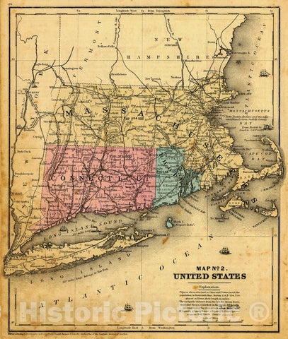Historic Map : 1855 Map No.2, United States (Massachusetts, Connecticut and Rhode Island) : Vintage Wall Art