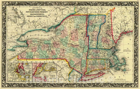 Historic Map : 1861 County Map of the States of New York, New Hampshire, Vermont, Massachusetts, Rhode Island and Connecticut : Vintage Wall Art