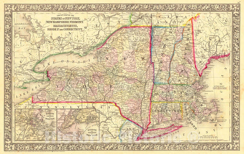 Historic Map : 1860 County Map of the State of New York, New Hampshire, Vermont, Massachusetts, Rhode Island, and Connecticut : Vintage Wall Art