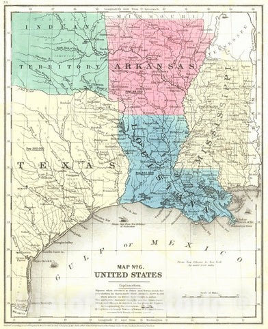 Historic Map : 1850 Map No. 6. United States (Mississippi, Louisiana, Arkansas and Texas) : Vintage Wall Art