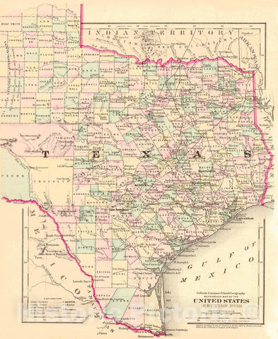 Historic Map : 1874 Reference Map of the United States Section No. 10 [Texas] : Vintage Wall Art