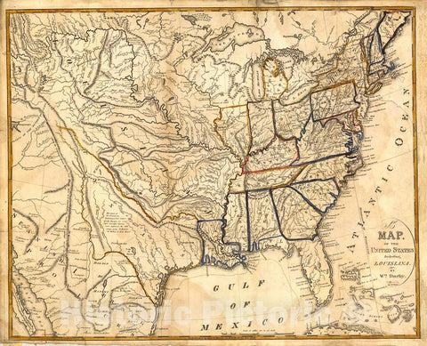 Historic Map : 1818 A Map of the United States including Louisiana : Vintage Wall Art